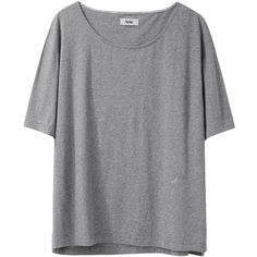 Acne Wonder Melange Tee (56 CAD) ❤ liked on Polyvore featuring tops, t-shirts, shirts, tees, jersey shirt, grey shirt, tee-shirt, jersey t shirt and long-sleeve crop tops