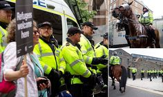 Police out in force as far-right and anti-fascist protesters clash #DailyMail