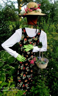 An elegant scarecrow for the garden from ourfairfieldhomeand garden.com