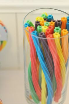 Rainbow twizzlers for a rainbow party