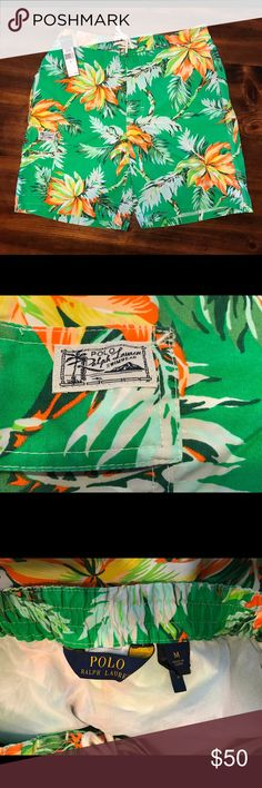 Polo Ralph Lauren men's bathing suit/swim shorts NWT Polo Ralph Lauren men's swim shorts size medium. Features fun tropic pattern, side pocket with Polo logo, drawstring waist, and inside mesh. Polo by Ralph Lauren Swim Swim Trunks