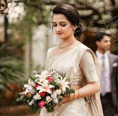 Christian Wedding Dress, Christian Bridal Saree, Christian Bride, Saree Wedding, Wedding Day, Wedding Dresses, Saree Collection, Bridal Collection, Saree Look