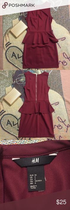 Burgundy peplum dress Burgundy peplum dress from H&M! Only worn once. Size 4. Make me an offer :) Dresses