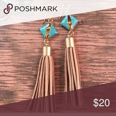 🌼Boho earrings,hippie earrings,gypsy earrings These awesome boys are 4 inches long on a brass hooks, they have brown suede tassels with turquoise accents, gold accents.They would look great with any bohemian outfit, fall outfits, handmade new Kathy netto designs Jewelry Earrings