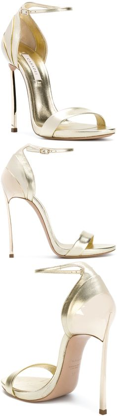 Gold-tone leather and kid leather layered heel sandals from Casadei. Your  Next Shoes 19da4917a02