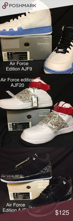 Air Jordan Air Force 1 Special Edition No longer in production and discontinued. Brand new in box (boxes are dusty and some crushed but shoes are brand new!!!). These are some amazing shoes for collectors! Be sure you get your pair! Ranging in original price for $140-160, get a deal on them! Used on eBay they go for $100 (used???). Let me know the size you want and I can give you the colors available in it! Nike Shoes Athletic Shoes