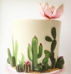New Cupcakes Decorados Cactus Ideas Fancy Cakes, Cute Cakes, Pretty Cakes, Beautiful Cakes, Amazing Cakes, Pretty Birthday Cakes, Cupcakes Succulents, Succulent Cakes, Fondant Cakes