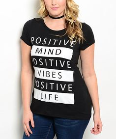 Look what I found on #zulily! Black & White 'Positive Mind' Cutout-Back Top - Plus #zulilyfinds