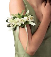 Floral armband instead of a traditional pin-on or wrist corsage.