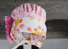 Garden Bonnet reversible baby bonnet sun bonnet modern Fabric Design, Pattern Design, Folded Up, Sun Hats, Derby, Black And White, Retro, Garden, Modern