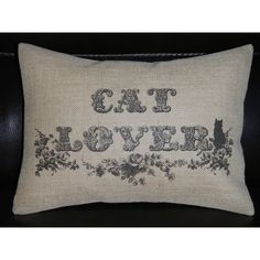 Cat Lover Burlap Pillow Cats Shabby Chic Insert Included ($23) ❤ liked on Polyvore featuring home, home decor, throw pillows, decorative pillows, grey, home & living, home décor, damask throw pillows, grey home decor and black and white damask throw pillows