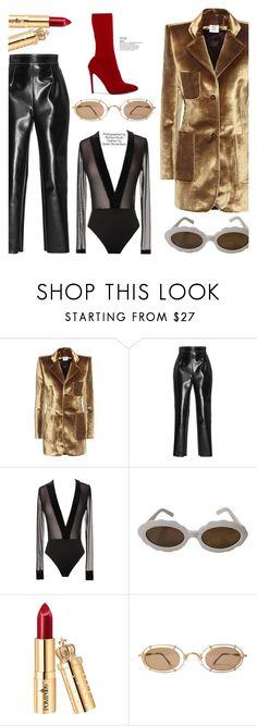 """""""OOTD"""" by gigi-lucid ❤ liked on Polyvore featuring Vetements, Philosophy di Lorenzo Serafini, Moschino, Matsuda, Industrie, Leather and velvet"""