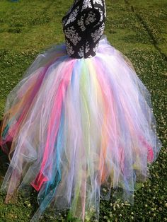 Sherbet Pastel Rainbow Galaxy and White Full length tutu - great for Halloween!