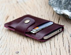 Mini purple leather iphone wallet case by SakatanLeather on Etsy, $26.00