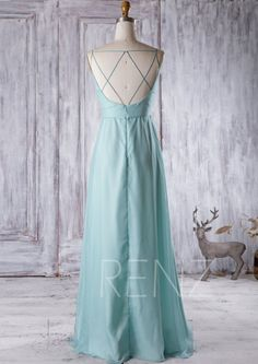 Soft Teal Chiffon Bridesmaid DressV Neck Wedding DressEmpire