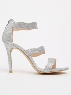 987b7fc08df7 Strappy Glitter Heels Silver