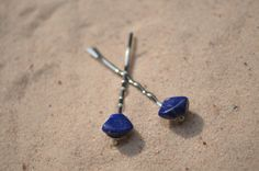 Pair of lapis lazuli stone hair pins. Authentic lapis lazuli stones adorn delicate dainty hair pins. The hair pins are handmade and come from a