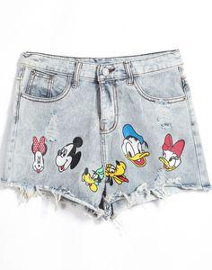 Shorts en jean imprimé dessous animé  10.56