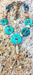 Designer Turquoise Donut and Leather Tassel Necklace