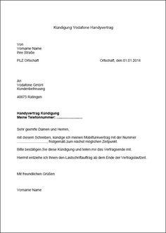 Vodafone Kundigung Vorlage Fur Word Kundigung Schreiben Kundigung Handyvertrag Kundigen