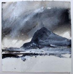 David Ross - Dumbarton Rock (Ink on Khadi paper.)