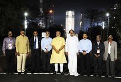 The Prime Minister, Shri Narendra Modi visits First Launch Pad at Sriharikota, with Launch Vehicle in the backdrop, in Andhra Pradesh on June 29, 2014.