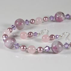Pink necklace & earrings set, Gemstone, crystals & pearls silver jewellery set £30.00