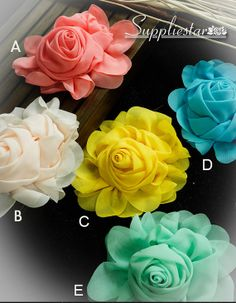 Coral Pink Yellow Tiffany Blue Chiffon Rose by Suppliestar on Etsy #Garters #Weddings #Appliques #DIY