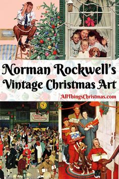 The best Norman Rockwell Christmas art, paintings, drawings and magazine covers. Celebrate holiday nostalgia with Vintage Norman Rockwell Christmas art. Retro Christmas, Vintage Christmas Cards, Vintage Holiday, Christmas Art, All Things Christmas, Xmas, Christmas Ideas, Peintures Norman Rockwell, Norman Rockwell Art