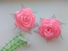 Бантики Розы из атласных лент МК Канзаши / Bows Rose satin ribbons, Kanzashi MK - YouTube