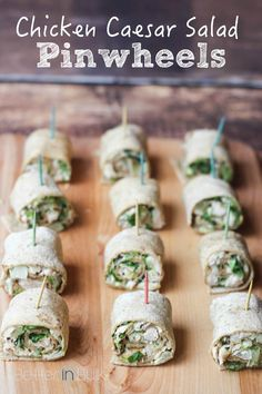 Easy Chicken Caesar Salad Pinwheels - a family-friendly quick meal or party appetizer #ad #RaiseYourMitt #FamilyMealsMonth