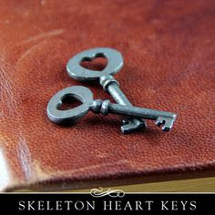 Cute skeleton keys with heart center. Metal. 2 Pack. Available from Annie Howes.