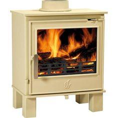 double door multi fuel stove cream