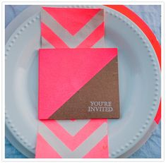 neon pink napkin and invitation crafted by Engaged & Inspired