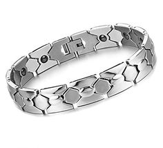 "Men Modern Sleek Titanium Steel Magnetic Bracelet in Velvet Gift Box with Free Link Removal Tool,8.26"". Magnetic Therapy Bracelet: Hand Crafted From Super Strong,Fashioned of polished Chain Wristbands. Embedded with 14 Piece Magnetic Elements,Health care: Anti-radiation fatigue resistance. Sophistication, style and personality; Stunning in polished titanium steel,Complete with easy-to-wear fold-over clasp. Length:8.26 inches adjustable,Wide:0.5 inches;Free Size Adjusting Tool Allows You..."