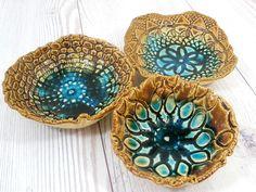 Serving Housewares decoration Ceramic lacy bowls set Wedding gift Hostess gift Home decoration. Glass Ceramic, Ceramic Plates, Stoneware Clay, Ceramic Art, Ceramics Projects, Clay Projects, Pottery Bowls, Ceramic Pottery, Pottery Designs
