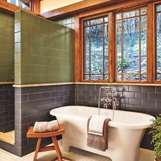 Bathroom with Craftsman period finishings, Strom plumbing, Victoria & Albert tub with rolled lip and unclawed feet, clerestory windows