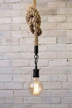 Anchor Rope Pendant Light with X large Edison light bulb