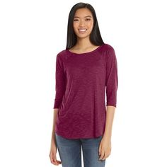 SO® Raglan High-Low Juniors' Tunic | Crisp Merlot