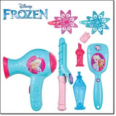 DISNEY FROZEN GLAM AND GO HAIR STYLIN' SET Includes: play hair dryer, brush, curling iron, perfume bottle, lipstick and hair clips (2); plastic, hair dryer uses 2 AA batteries (not included), imported, ages 3 and up. Item#: 915-496 Magalog: $14.99