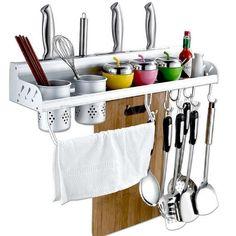 Details About Alumimum Kitchen Hanging Organizer Pot Cutlery Holder Rack  Storage Wall Mounted