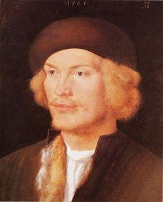 Portrait of a Young Man - Albrecht Durer.  1507.  Oil on linden wood.  35 x 29 cm.  Kunsthistorisches Museum, Vienna, Austria.