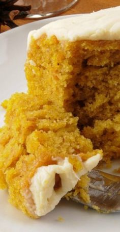 Pumpkin Buttermilk Cake and Cream Cheese Frosting Recipes ~ Rich and lightly spiced, this cake is sure to be a real crowd pleaser.