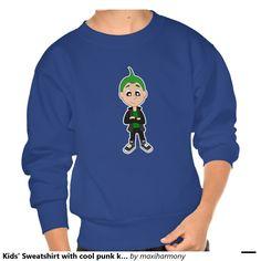 Kids' Sweatshirt with cool punk kid cartoon