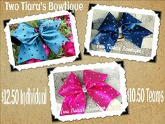 Competition Cheer Bows by Two Tiara's Bowtique on Etsy or Facebook as TwoTiaras Bowtique for more options and recent updates! Lots of bling! Check out this item in my Etsy shop https://www.etsy.com/listing/212599057/solid-color-shiny-cheer-bow-with-all