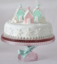 My iced houses Christmas cake