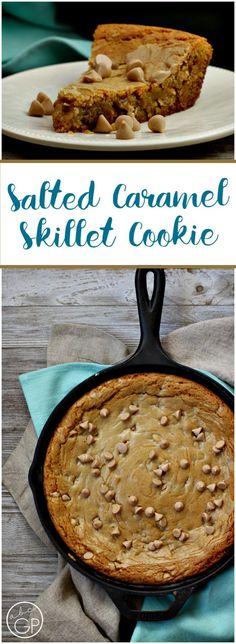 Browned Butter Salted Caramel Skillet Cookie