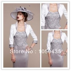 Sexy Knee Length Silver Wedding Dress For Mother New 2014 Formal Evening Dresses With Free Jacket Two Piece Women Gown