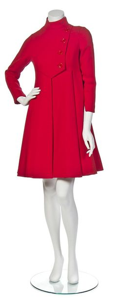 60's Geoffrey Beene Red Wool Coatdress,