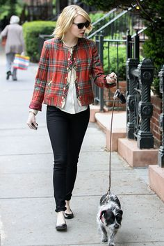 Emma Stone on the street in New York - celebrity fashion
